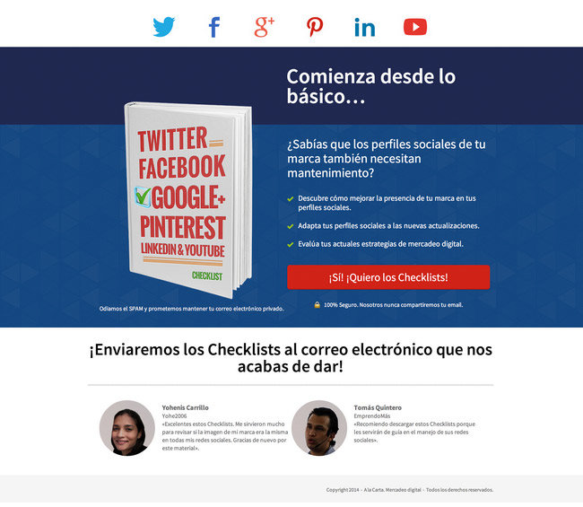 Original/Base - With Testimonials: Here, Humberto uses the Social Proof Giveaway Page template with the optional customer testimonials footer activated.