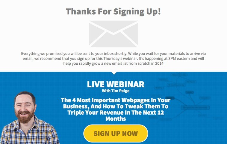 This Thank You/Webinar Page actually doubled our webinar registrations, which in turn had a dramatic impact on our bottom line.