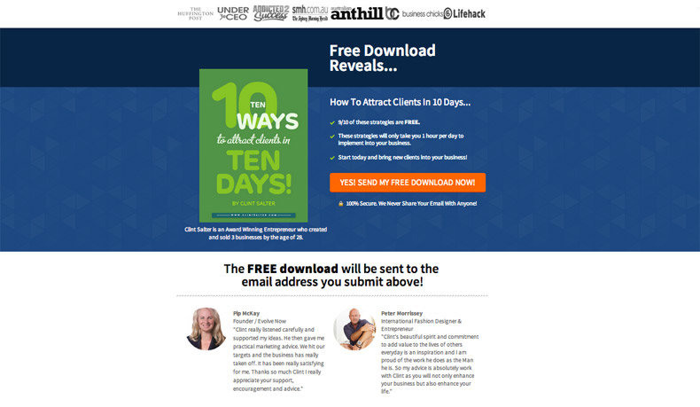"Base/Original - ""Free Download Reveals"" Headline + ""How to Attract Clients in 10 Days"" Subheadline: Clint uses the Social Proof Giveaway Page template to introduce his ebook with the base headline + subheadline copy."