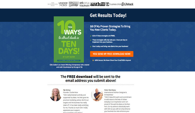 "+152% Alternative - ""Get Results Today!"" Headline + ""10 Proven Strategies to Bring You New Clients Today"" Subheadline: With the same Social Proof Giveaway Page template Clint only alters the headline and subheadline."