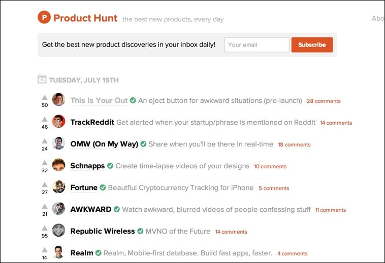 A look at the simple design and structure of Product Hunt's home page.