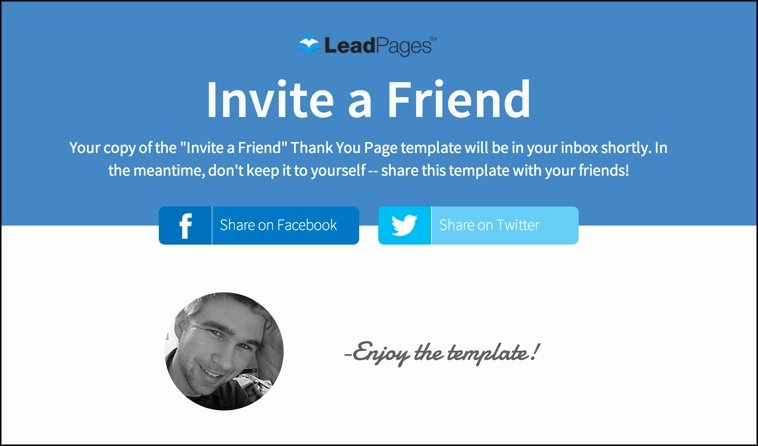 "The ""Invite a Friend"" Thank You Page template from LeadPages."