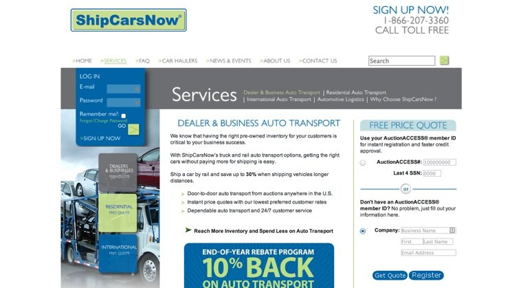 Ship-Cars-Landing-Page-Example