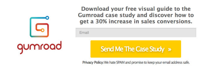 In the control for this split test, Tim used the Gumroad logo on his LeadBox to reinforce the Gumroad brand.