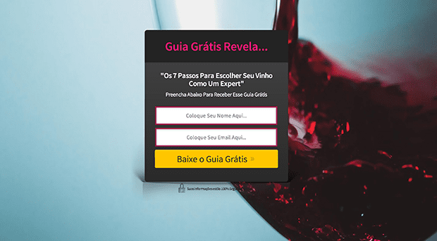 "The copy on this basic centered squeeze page reads: ""Free Guide Reveals: The 7 Steps to Choosing Your Wine as an Expert. Fill in below to receive the free guide."""