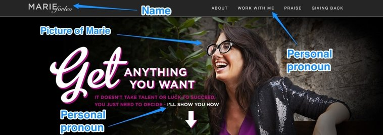 The banner and navigation bar on the MarieForleo.com home page is designed to reinforce Marie's personal brand.