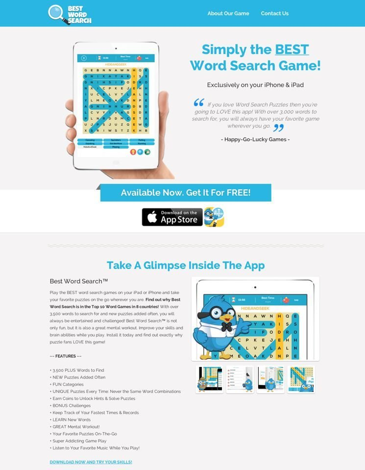 The Ebook Landing Page from Pat Flynn isn't just for Ebooks, as Best Word Search App shows here.