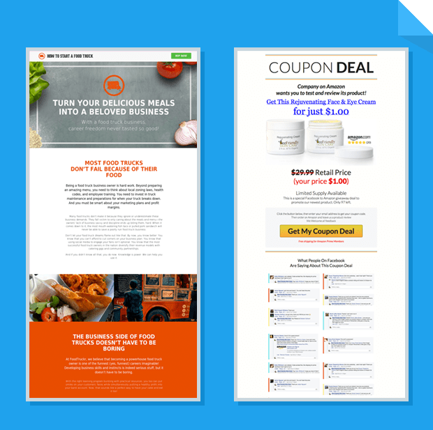 Examples of LeadPages Marketplace landing page templates