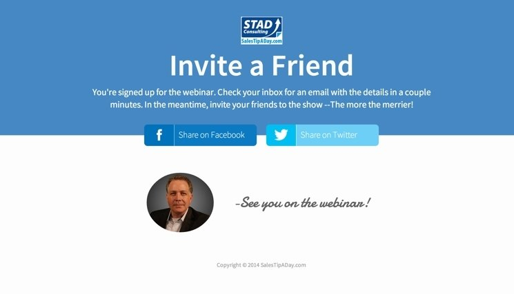 Landing page roundup our 10 favorite pages from august stad invites more people to their webinar with the invite a friend thank you template stopboris