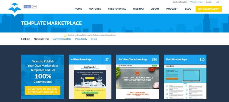 landing page template marketplace