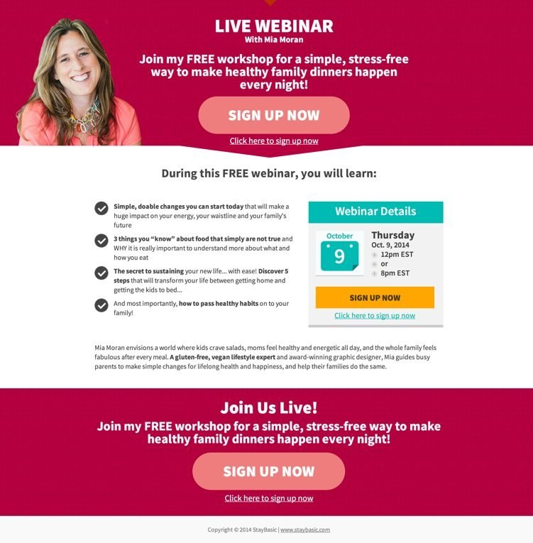 Mia Moran uses the Thank You/Webinar Page to capture even more leads.