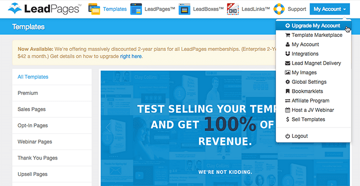 Upgrade To LeadPages™ Pro Annual or Pro 2 Year By Friday At Midnight Eastern To Get A Free Sub-Account