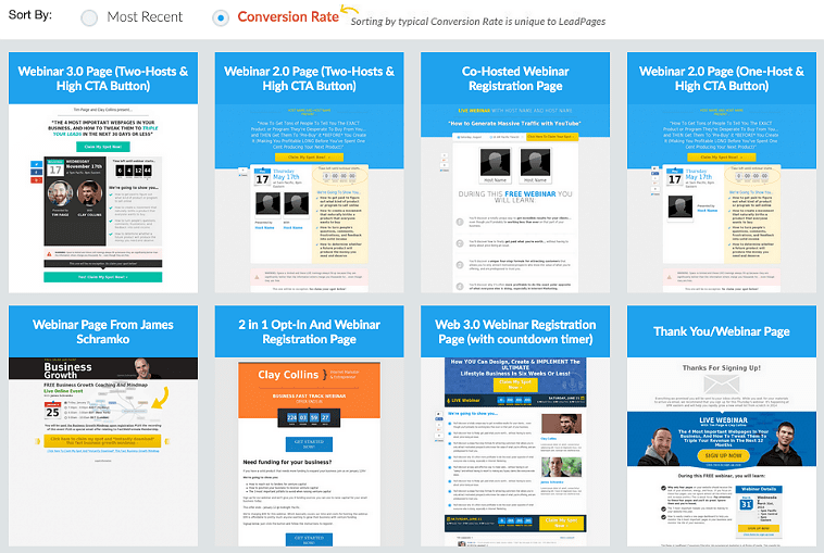 LeadPages webinar registration pages