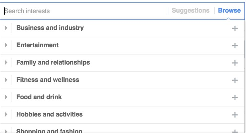 A few of the interests in the Facebook demographic arsenal. You can drill down into each of these topics.