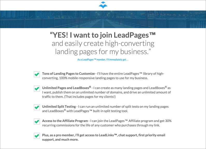 At LeadPages® we use the first-person reiteration technique on our own checkout page.
