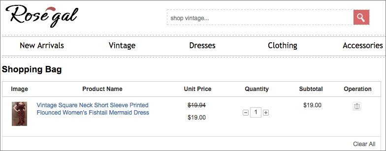 Rosegal shows a picture of the dress I put in my shopping cart, as well as a description of the dress itself.