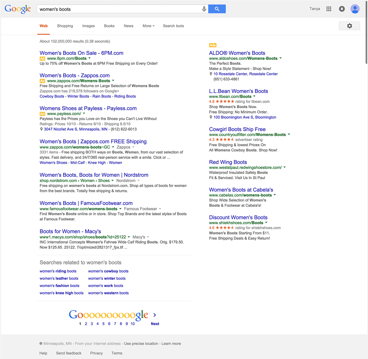 "The SERP from the search query for ""Women's Boots"""