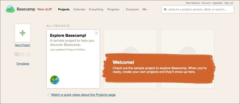 Basecamp's test project shows up on your home screen