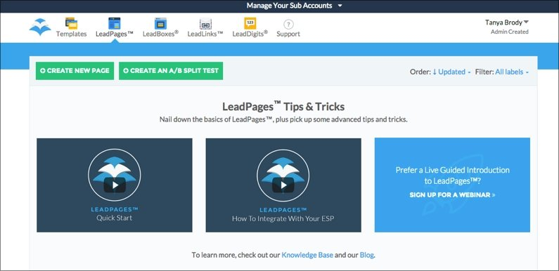 New LeadPages members can watch quick start videos and sign up for the Launchpad webinar.