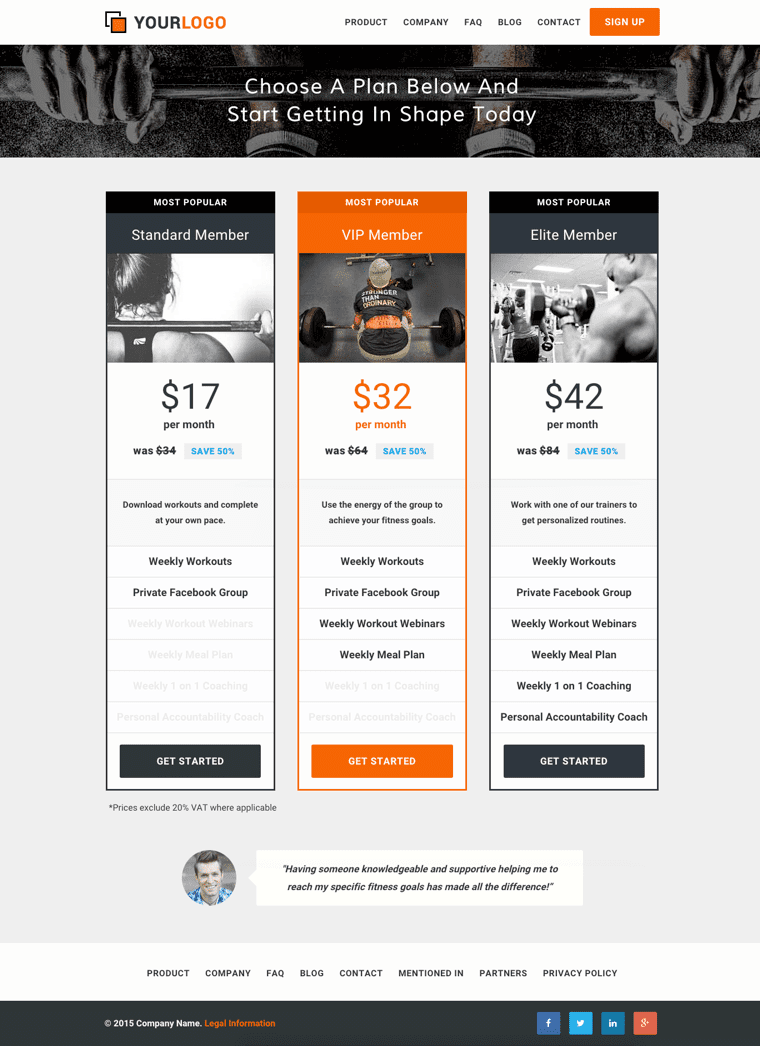 Pricing Template Web