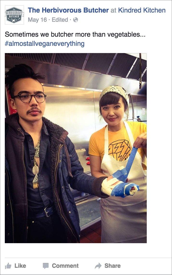 Aubry bandages Kale's hand.