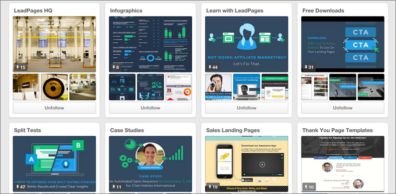 A snapshot of LeadPages' own (relatively new) Pinterest page