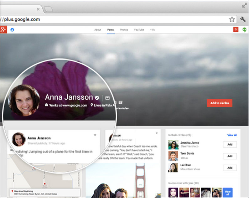 An example of a Google+ page, from Google