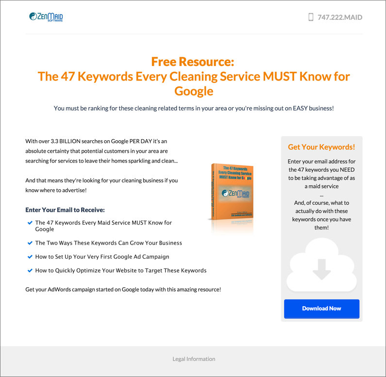 ZenMaid offers a lead magnet helping cleaning companies rank in Google results