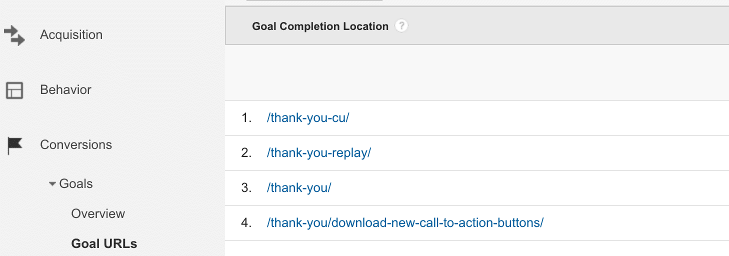 Sample goal completion URLs for custom thank-you pages