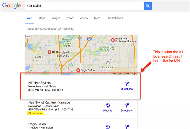 Local Google SEO Results