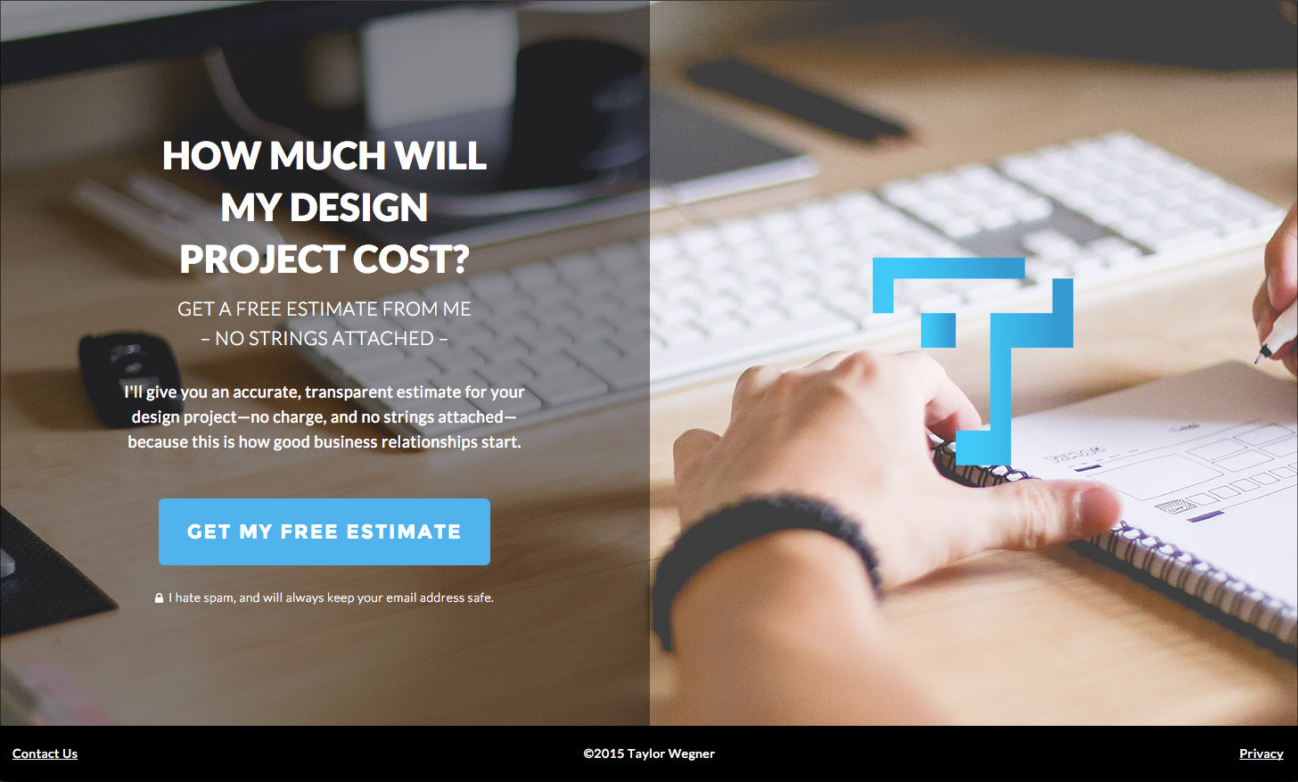 free-project-estimate landing page