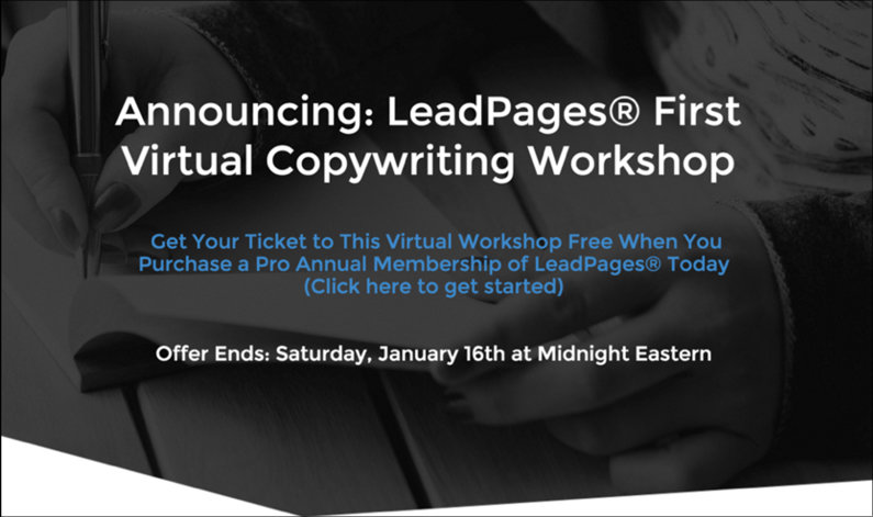 "We recently ran an ""announcement"" promotion to market our very first Copy Workshop. (Page: Sales Page for Relationship Marketers in the LeadPages Marketplace.)"