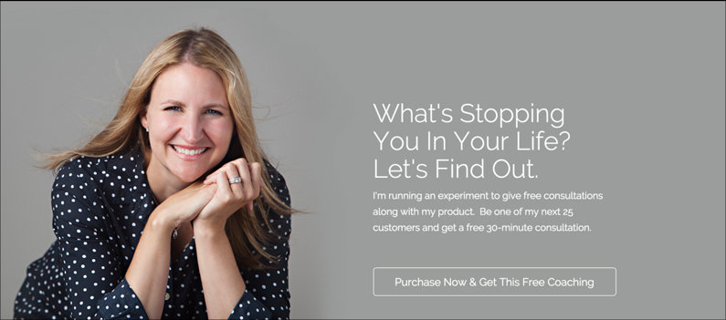 You can position a new offer as an experiment in your promotion. (Page: Jen Gordon Coaching Theme from the LeadPages Marketplace.)