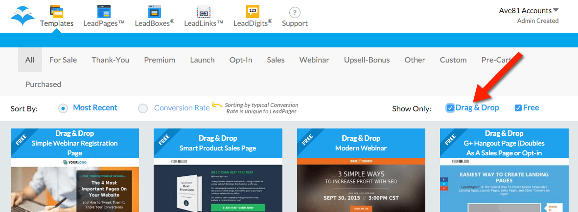 LeadPages Drag & Drop Builder