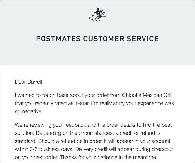 postmates - form submission