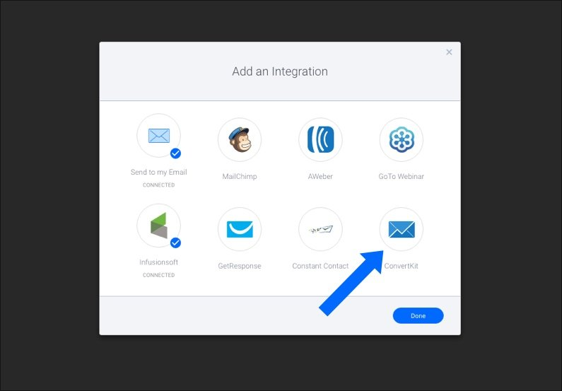 integrations screen