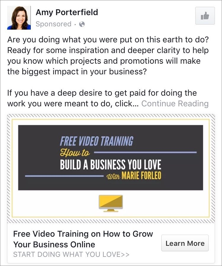 How Amy Porterfield uses Facebook ads to generate leads with a free video training