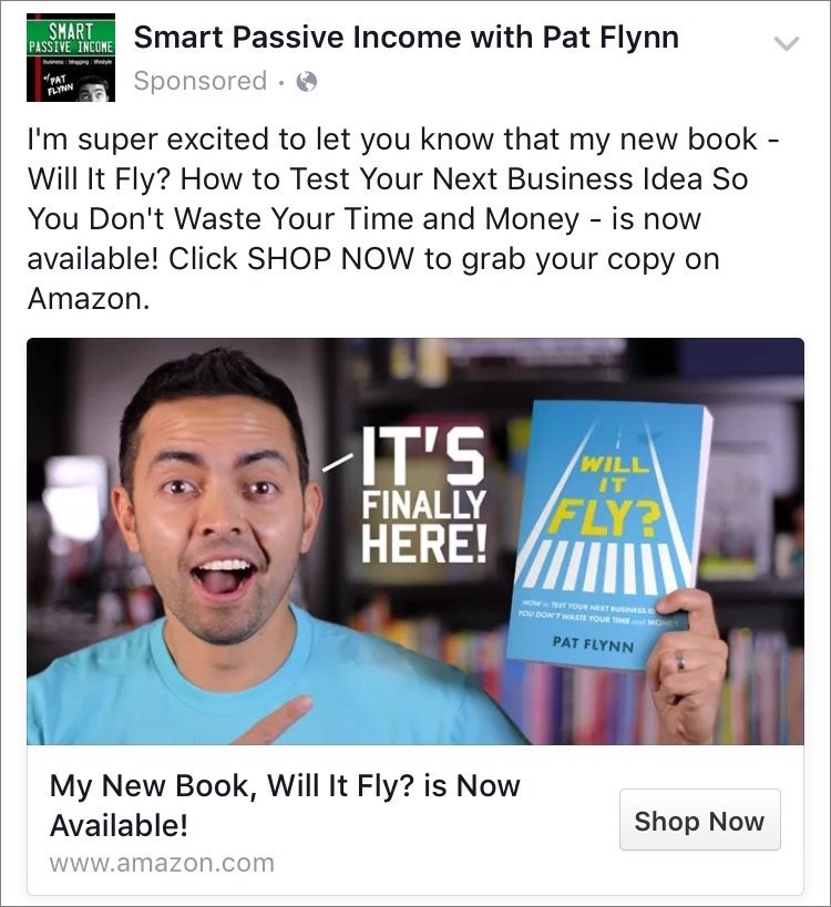 Pat Flynn chose a fun custom image to help advertise his new book on Facebook
