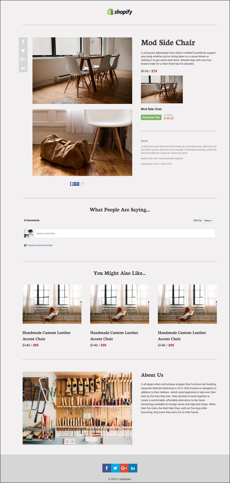 Leadpages' Shopify One-Item Landing Page