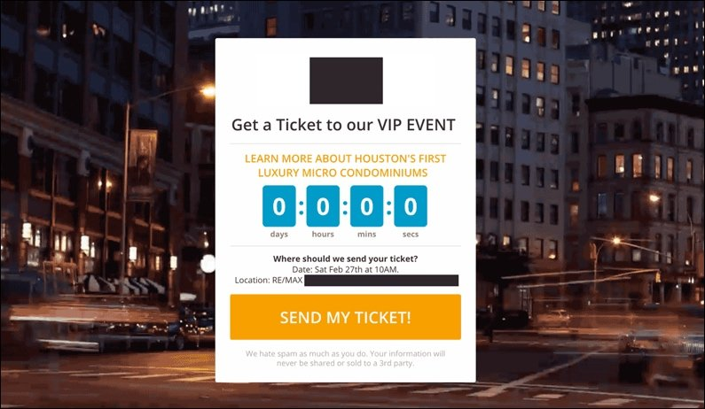 VIP Event Opt-in Page