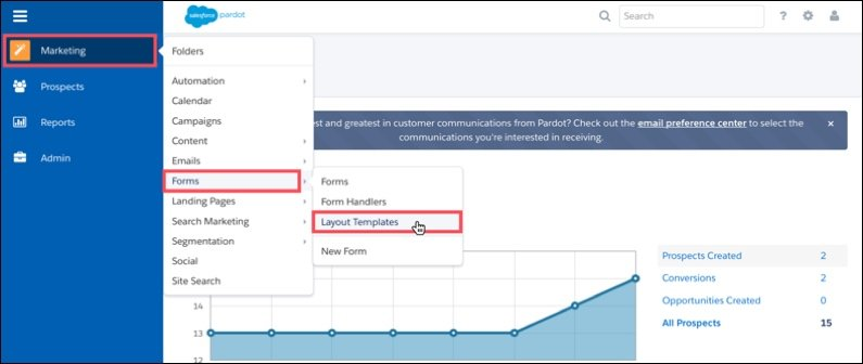 Creating a layout template in Pardot