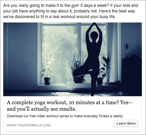 Example of a Facebook ad a fitness business could use for lead generation