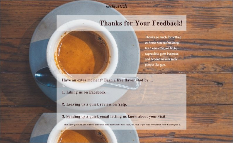 coffee shop positive feedback