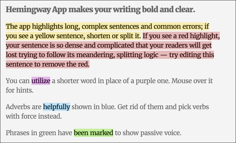 The Hemingway Editor app at work