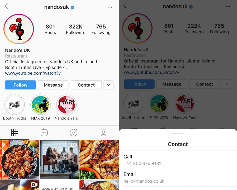 nandosuk Instagram page