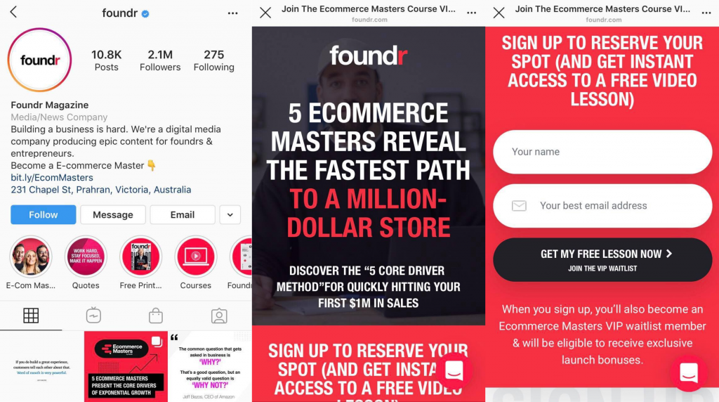Foundr Instagram Profile Page–Link to a lead generation landing page to help get leads and sales from Instagram