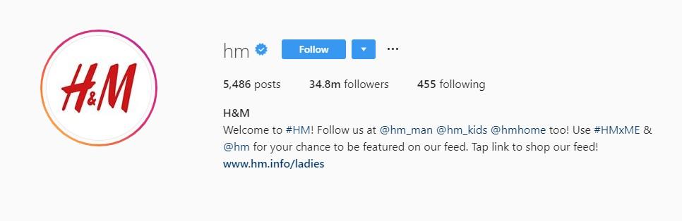 H&M Instagram Profile