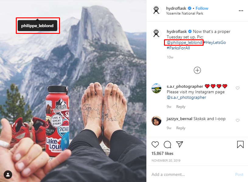 Hydroflask's Instagram– Collaborate with niche influencers to help get leads and sales from Instagram.