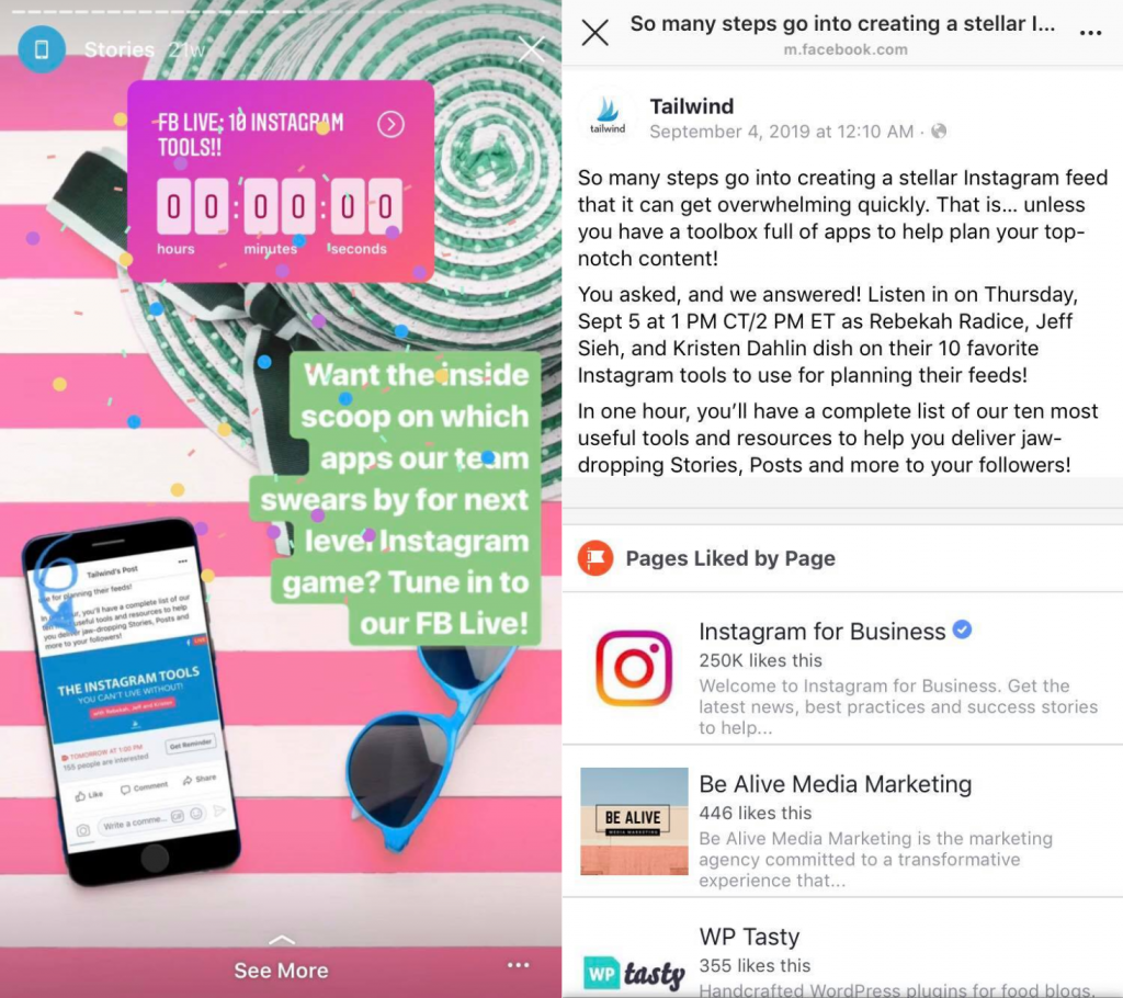 Tailwind on Instagram–Use the countdown sticker to help get leads and sales from Instagram