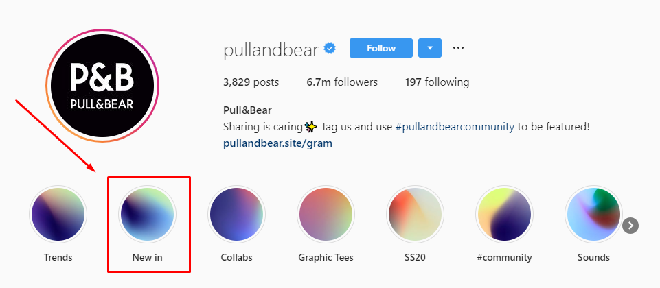 P&B Instagram Profile–Create Instagram Story highlight albums to help get leads and sales from Instagram